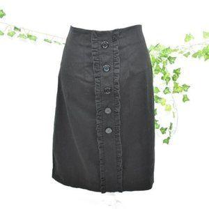 Courtenay black ruffle button pencil skirt